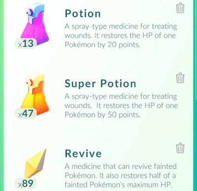 Poções, Super Poções e Revives pokemon go