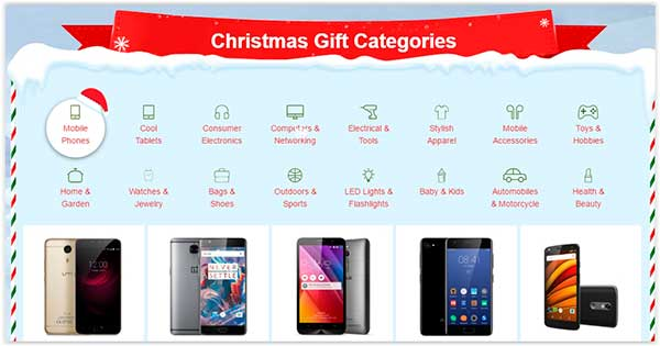 Descontos de Natal no Site Chinês Gearbest Categorias