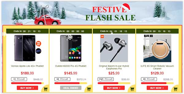 Descontos de Natal no Site Chinês Gearbest Flash